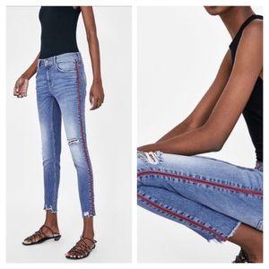Zara Basic 1975 Red Stripe Skinnies | 8